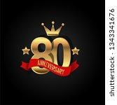 80 years anniversary simple... | Shutterstock .eps vector #1343341676