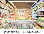 shopping cart in supermarket... | Shutterstock . vector #1343356553