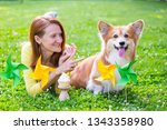 dog in the family   birthday... | Shutterstock . vector #1343358980