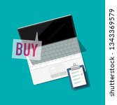 notebook with buy icon. vector... | Shutterstock .eps vector #1343369579