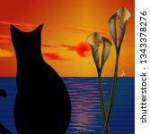 Black Cat. Ocean Sunset. 3d...