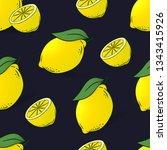 seamless pattern of lemons with ... | Shutterstock .eps vector #1343415926
