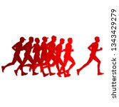 set of silhouettes. runners on... | Shutterstock . vector #1343429279