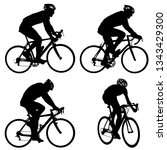 set silhouette of a cyclist... | Shutterstock . vector #1343429300