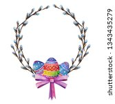 easter wreath from willow... | Shutterstock . vector #1343435279