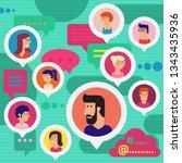 social networks users global... | Shutterstock .eps vector #1343435936