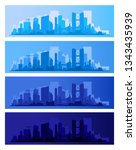 trendy city skyline colored... | Shutterstock .eps vector #1343435939