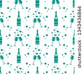 seamless pattern with champagne ... | Shutterstock .eps vector #1343436866