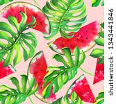 watermelon juicy slices with... | Shutterstock . vector #1343441846