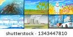 environmental pollution. set of ... | Shutterstock .eps vector #1343447810