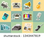 vintage devices icons. retro... | Shutterstock .eps vector #1343447819