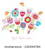 floral background with birds...