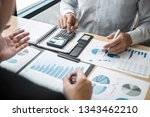 discussion of business group... | Shutterstock . vector #1343462210
