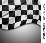 checkered black and white flag... | Shutterstock . vector #1343479349