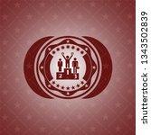 business competition, podium icon inside red emblem. Vintage.