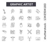 graphic artist line icons for... | Shutterstock .eps vector #1343504183