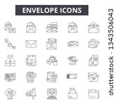 envelope line icons for web and ... | Shutterstock .eps vector #1343506043