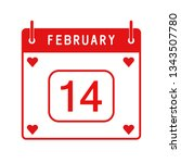 february calendar 14th.... | Shutterstock .eps vector #1343507780