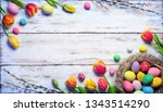 easter card   painted eggs and... | Shutterstock . vector #1343514290