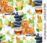 spa watercolor seamless pattern.... | Shutterstock . vector #1343519780