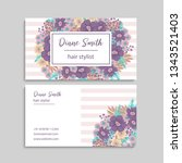 floral style business card... | Shutterstock .eps vector #1343521403