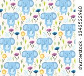 childish seamless pattern with... | Shutterstock .eps vector #1343522960