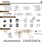 coffee infographic icons. set... | Shutterstock .eps vector #1343523476