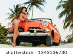 vacations in cuba. sexy woman... | Shutterstock . vector #1343536730