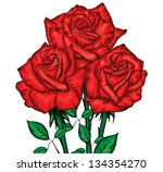 three red roses bouquet | Shutterstock .eps vector #134354270