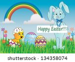 easter card in nature with... | Shutterstock . vector #134358074
