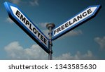 two street arrow blue signs... | Shutterstock . vector #1343585630