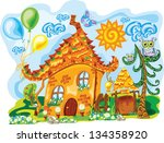 gingerbread sunny colorful house | Shutterstock .eps vector #134358920