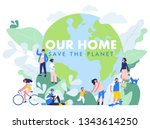 save the planet concept with... | Shutterstock .eps vector #1343614250