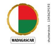 flag of madagascar with name... | Shutterstock .eps vector #1343629193