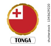 flag of tonga with name icon ... | Shutterstock .eps vector #1343629220