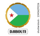 flag of djibouti with name icon ... | Shutterstock .eps vector #1343629226