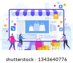 online shopping and delivery of ... | Shutterstock .eps vector #1343640776