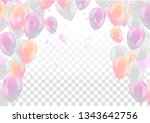 festive card with flying... | Shutterstock .eps vector #1343642756