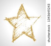 hand drawn star with gold... | Shutterstock .eps vector #1343645243