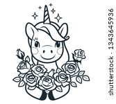 cute unicorn with roses simple... | Shutterstock .eps vector #1343645936