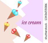 sweet cartoon ice cream. vector ... | Shutterstock .eps vector #1343655086