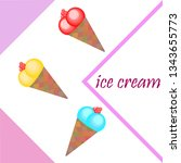 sweet cartoon ice cream. vector ...   Shutterstock .eps vector #1343655773