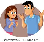 sad disappointed couple holding ... | Shutterstock .eps vector #1343661740