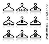 Stock vector hanger sale buy get free icons set 134367770