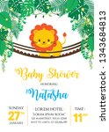 Stock vector baby shower design with cute lion on the bridge 1343684813