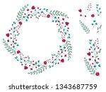 decorative romantic wreath of...   Shutterstock .eps vector #1343687759