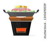 pork grilled pan on brazier...   Shutterstock .eps vector #1343690039