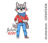 puppy in fashionable clothes....   Shutterstock .eps vector #1343692436