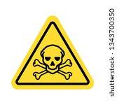 warning sign with skull symbol | Shutterstock .eps vector #1343700350