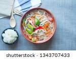 spicy papaya salad mix with... | Shutterstock . vector #1343707433